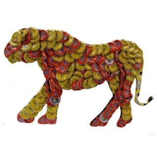 Handmade Bottle Cap Cheetah Wall Plaque (Indonesia)
