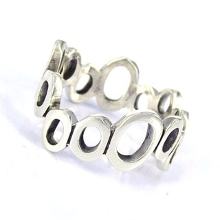 Modern Uneven Cutout Oval Band .925 Silver Ring (Thailand)
