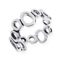 Handmade Modern Uneven Cutout Oval Band .925 Sterling Silver Ring (Thailand)