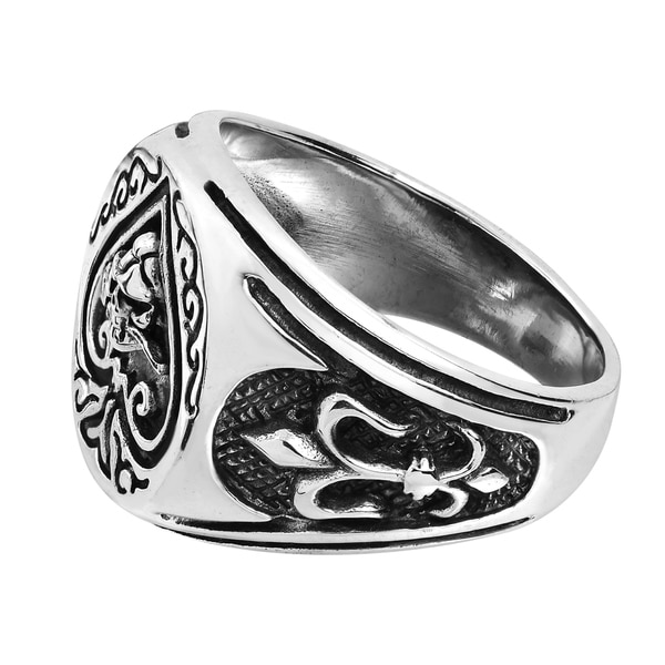 AeraVida Ace of Spade Fleur De Lis Skull Rose .925 Sterling Silver Ring