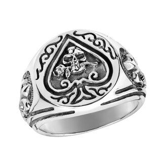Handmade Ace of Spade Fleur De Lis Skull Rose Sterling Silver Ring (Thailand) (More options available)