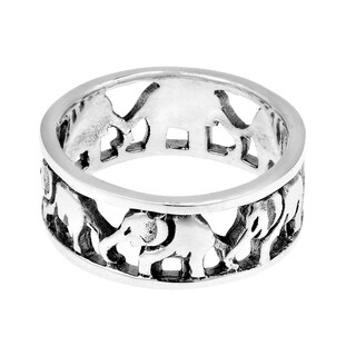 Handmade Cut Out Thai Elephant Family Caravan Sterling Silver Ring (Thailand)