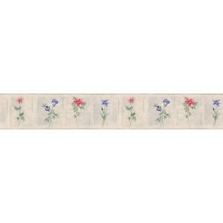 Purple Floral Border Floral Wallpaper