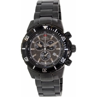 Swiss Precimax Men's 'Pursuit Pro' Black Stainless Steel Swiss Chronograph Watch