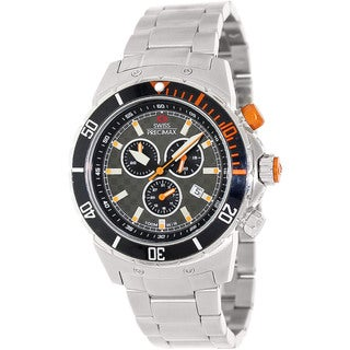Stainless-Steel Swiss Precimax Men's 'Pursuit Pro' Grey/ Orange Swiss Chronograph Watch