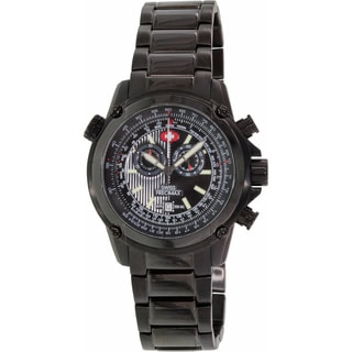 Swiss Precimax Men's Squadron Pro Black Steel Chronograph Watch with Gray Subdials