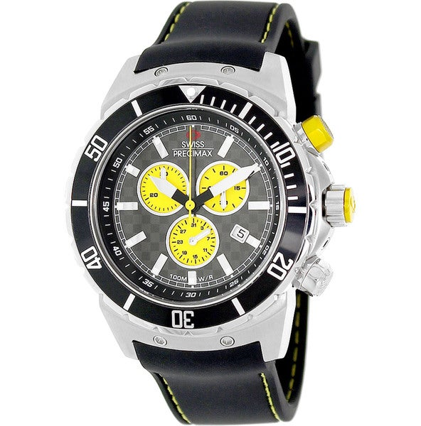 Swiss Precimax Men's 'Pursuit Pro Sport' Black/ Yellow Swiss Chronograph Watch