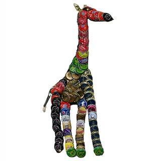 Refurbished Handmade Recycled Metal Bottle Cap Giraffe Wall Plaque (Kenya)