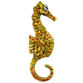Bottle Cap Sea Horse Wall Plaque , Handmade in Kenya