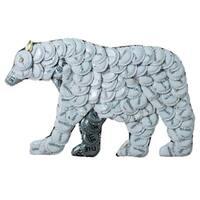 Handmade Bottle Cap Polar Bear Wall Plaque (Kenya)
