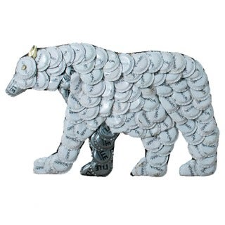Handmade Bottle Cap Polar Bear Wall Plaque (Kenya)