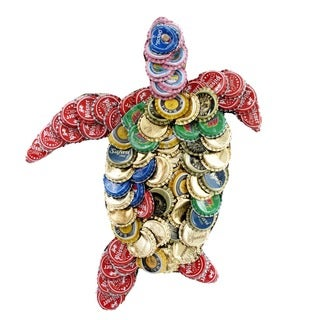 Handmade Bottle Cap Turtle Wall Plaque (Kenya)