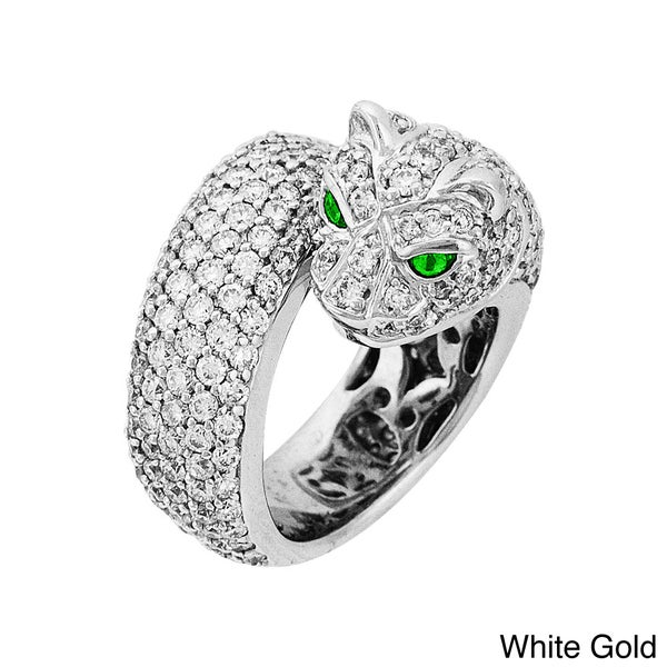 Sonia Bitton 18k Gold 7ct TDW Diamond and Emerald Panther Ring (G-H, SI1-SI2)