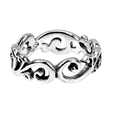 Handmade Charming Filigree Swirls All Around Band .925 Sterling Silver Ring (Thailand)