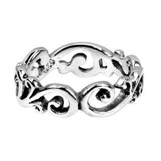 Charming Filigree Swirls All Around Band .925 Silver Ring (Thailand)