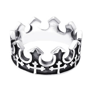 Handmade Majestic Cross Royal Crown .925 Sterling Silver Ring (Thailand)