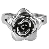 Handmade Raised Blooming Rose .925 Sterling Silver Ring (Thailand)