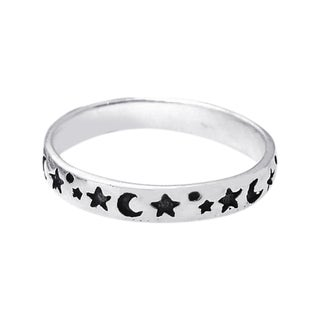 Handmade Evening Sky Moon and Star Band Sterling Silver Ring (Thailand)