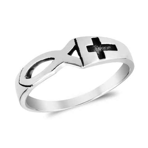 Handmade Meaningful Christian Fish & Cross Sterling Silver Ring (Thailand )