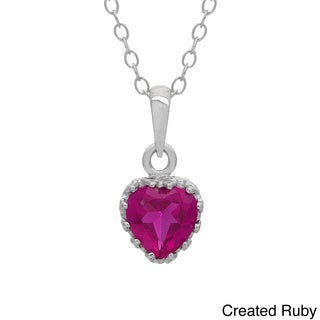 Gioelli Tiara Collection Sterling Silver 6mm Heart Gemstone Crown Necklace
