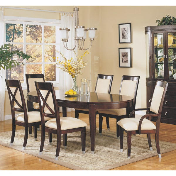 Shop Dark Cherry Oval Dining Table With Inch Leaf Free Shipping - Oval cherry wood dining table