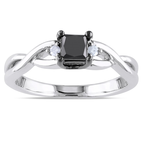 Miadora Sterling Silver 2/5ct TDW Black and White Diamond Ring