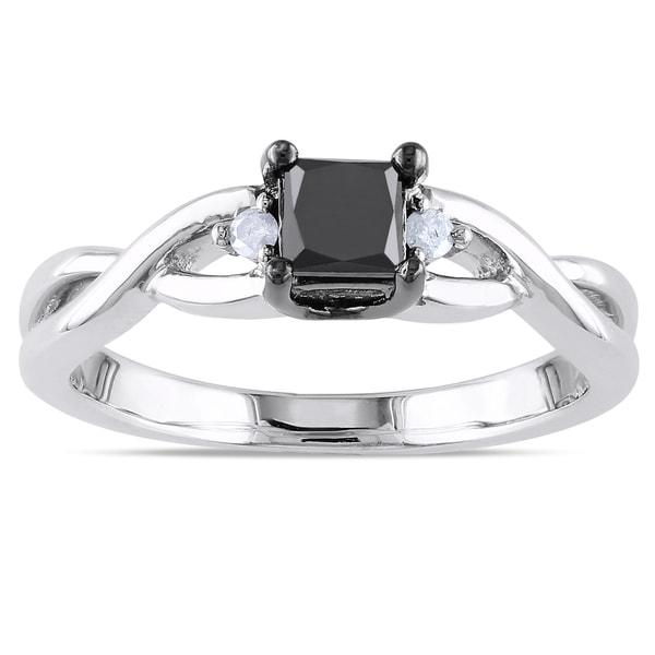 Miadora Sterling Silver 2/5ct TDW Black and White Diamond Ring