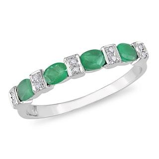 Miadora 10k White Gold Emerald and Diamond Ring