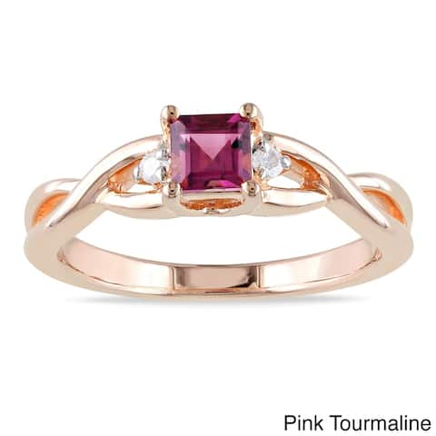 Miadora Rose-plated Silver Square-cut Pink Tourmaline and Diamond Ring