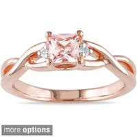 Miadora Rose-plated Square-cut Silver Tourmaline or Morganite and Diamond Ring