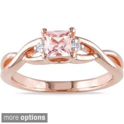Miadora Rose-plated Square-cut Silver Tourmaline or Morganite and Diamond Ring
