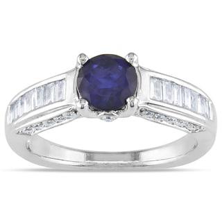 Miadora 14k White Gold Round-cut Sapphire and 1/2ct TDW Diamond Ring