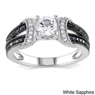 Miadora Sterling Silver Sapphire or Morganite and 1/4ct TDW Diamond Engagement Ring