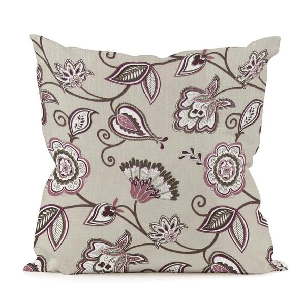 Avignon Eggplant Floral Scroll Throw Pillow