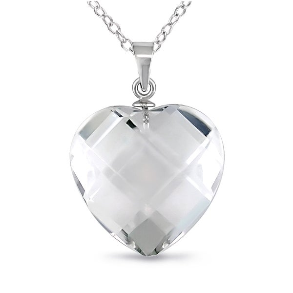 Miadora Sterling Silver Crystal Faceted Heart Necklace