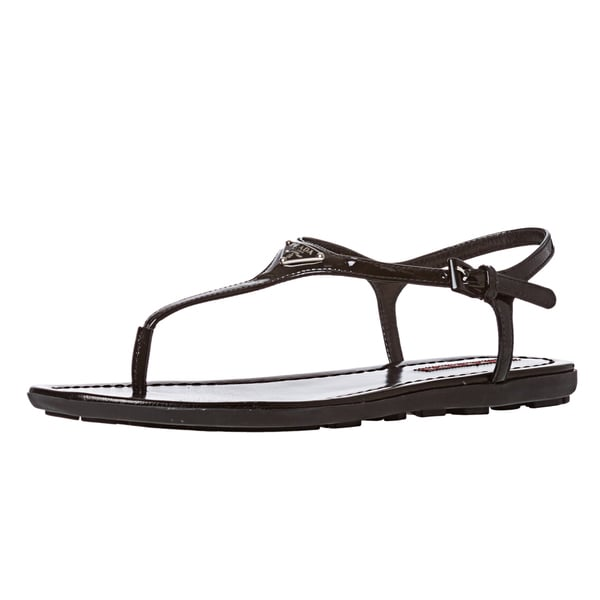 3c6f999fdb52 Shop Prada Women s Black Patent Leather Thong Sandals - Free ...