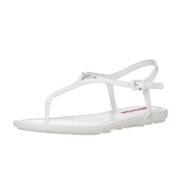 Prada Women's White Patent Leather Thong Sandals
