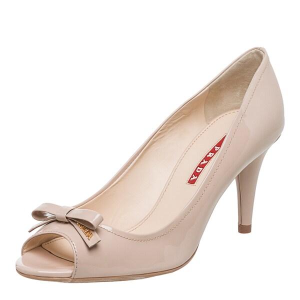 Prada Women's Nude Patent Leather Peep-toe Pumps