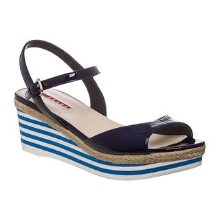 Prada Women's Blue Striped Wedge Patent Leather Sandals