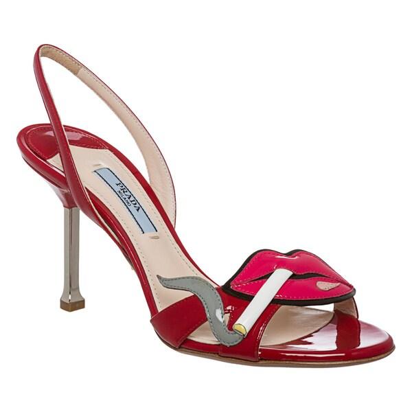 Prada Women's Red Patent Leather Cigarette Lips Slingbacks