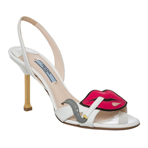 Prada Women's White Patent Leather Cigarette Lips Slingbacks. Opens flyout.