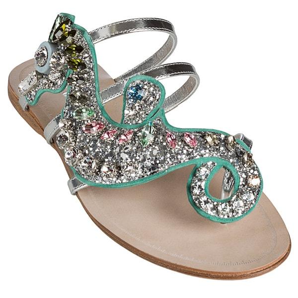 Miu Miu Women's Rhinestone Seahorse Metallic Sandals