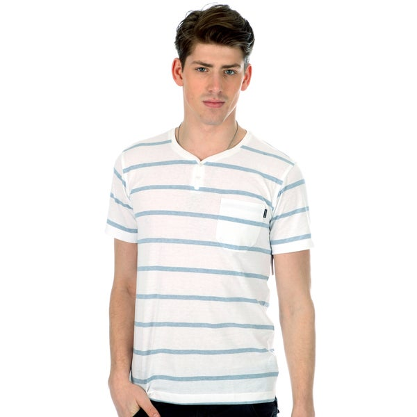 191 Unlimited Men's White/Blue Striped Henley Tee