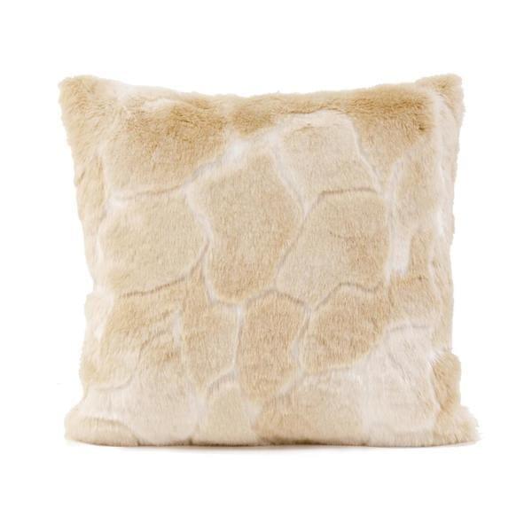 Natural Luscious Square Vegan Fur Throw Pillow