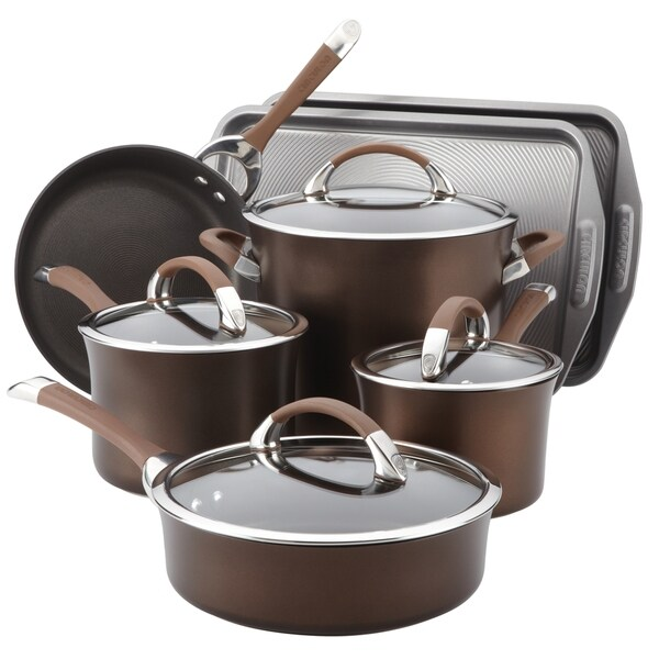 Circulon Symmetry Chocolate Hard Anodized Nonstick 9-piece Cookware Set with 2-piece Bakeware Set