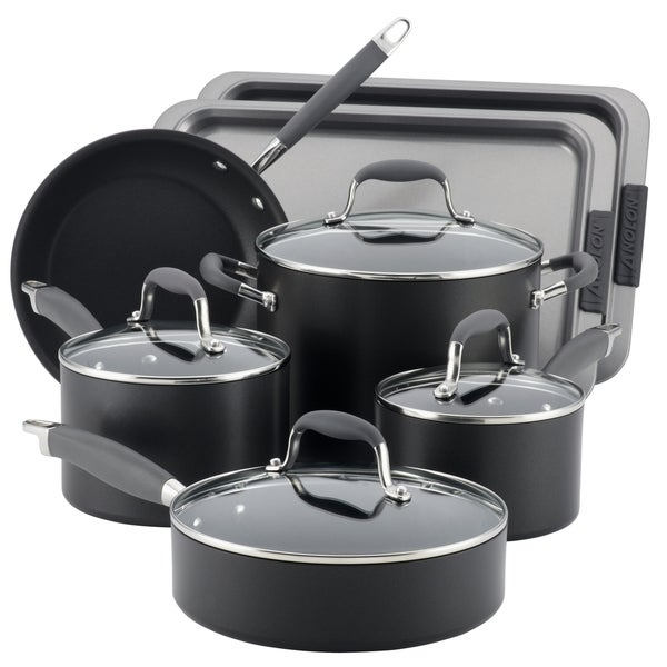 Anolon Advanced Hard-anodized Nonstick Grey 9-piece Cookware Set and 2-piece Bakeware Set