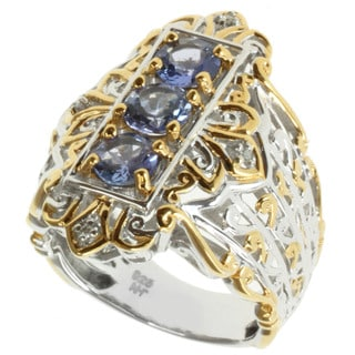 Michael Valitutti Two-tone Tanzanite and Diamond Ring