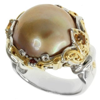 Michael Valitutti Two-tone Mabe Pearl, Citrine and Sapphire Ring (15-16 mm)