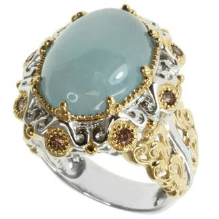 Michael Valitutti Two-tone Aquamarine and Chocolate Zircon Ring