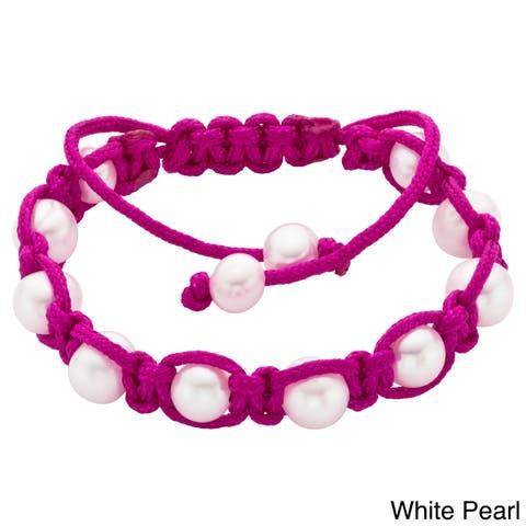Pearlyta Nylon Cord Children's Pearl Macrame Bracelet (5-6 mm) - Green
